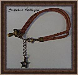 Handmade Brown Leather Mushroom Bracelet