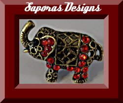 Antique African Elephant Design Ring Size 5.5 With Red Rhinestones