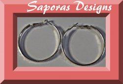 Silver Tone Hoop Design Earrings
