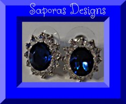 Blue & Clear Crystal Stud Earrings With Silver Tone Finish