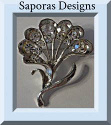Silver Tone Flower Design Brooch With Clear Crystals
