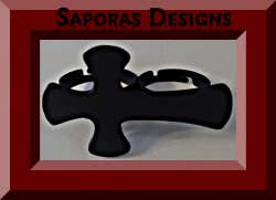 Black Cross Double Finger Design Ring Size 7 & 8 Biker Gothic Punk Rock Style