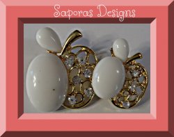 Gold Tone Apple Design Brooch With White Beads & Clear Crystals