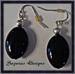 Silver Tone Dangle Earrings With Black & Silver Tone Beads Simple Style