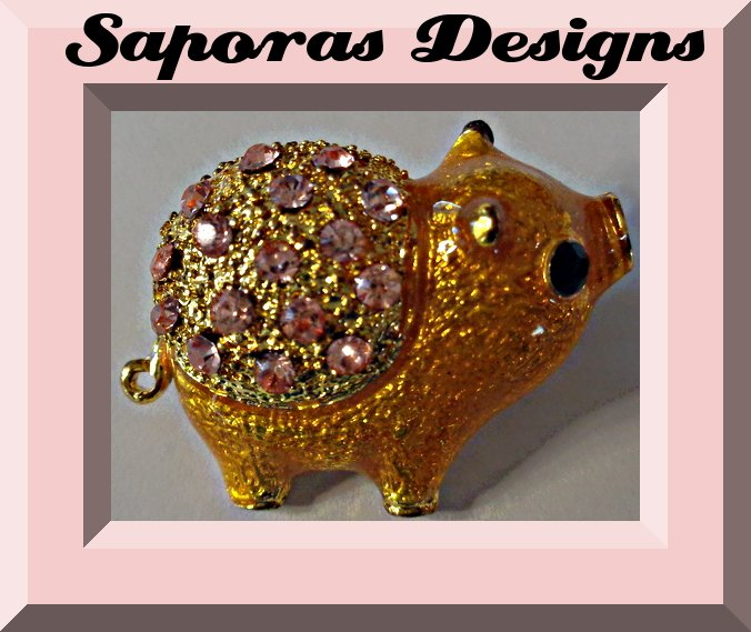 Image 0 of Gold Tone Pig Design Brooch With Pink Crystals