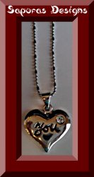 18KRP Heart You Necklace With Clear Crystal