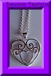 925 Sterling Silver Heart Design Necklace