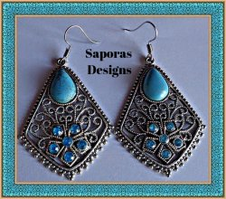 Tibetan Silver & Turquoise Dangle Earrings With Blue Flower Crystal Designs