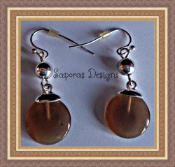 Silver Tone Dangle Earrings With Brown & Silver Tone Beads