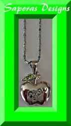 18KRP Apple Necklace With Green Crystals With The Word You On It