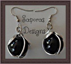 Silver Tone Handmade Dangle Earrings With Black Bead