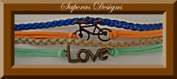 Colorful Multi-Layered Leather Bracelet With Braids Love & Bicycle Charm