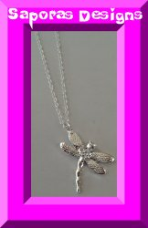 925 Sterling Silver Dragonfly Design Necklace With Clear Crystal