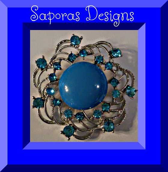 Image 0 of Silver Tone Brooch With Blue Crystals & Blue Bead