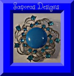 Silver Tone Brooch With Blue Crystals & Blue Bead