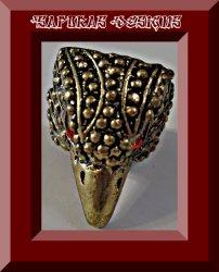 Antique Eagle Bird Hawk Design Ring With Red Rhinestone Eyes Size 6 Unisex