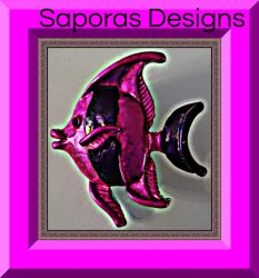 Purple Fish Design Brooch With Black Crystal Eyes!