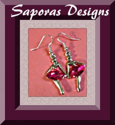 Silver Tone Dangle Earrings Ballerina Design With Pink Crystals