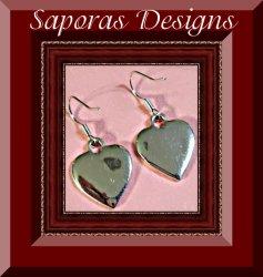 Silver Tone Dangle Heart Design Earrings