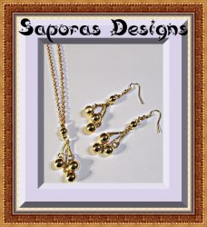 Gold Tone Dangle Earring & Necklace Set With Ball Designs Holiday Jewelry