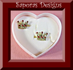 Gold Tone & Red In Color Crown Design Stud Earrings
