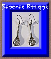 Silver Tone Tennis Racket Design Dangle Earrings With Clear Crystals