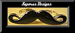 Gold Tone & Black Mustache Design Double Finger Ring Size Size 6 & 7.5