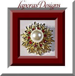 Gold Tone Flower Design Brooch With Red Crystals & White Faux Pearl