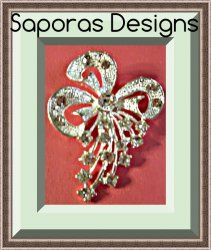 Silver Tone Bow Design Brooch With Clear Crystals Vintage Style