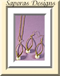 Gold Tone Necklace & Dangle Earring Jewelry Set With White Faux Pearl Classy