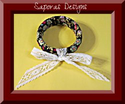 Handmade Bangle Vintage Bracelet Wrapped In Flower Design Cloth & Lace Bow