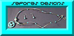 Tibetan Silver & Turquoise Peace Sign Necklace & Dangle Earring Jewelry Set