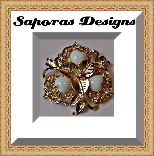 Image 0 of Gold Tone Flower Design Brooch With White Heart Design Beads
