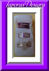 Set Of (3) Three Toe Rings Flower Designs With Clear Crystal Colorful