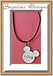 Disney Mickey Mouse Love Design Necklace With Black Rope Chain