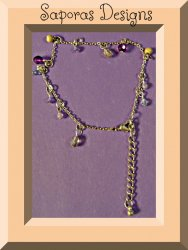 Handmade Silver Tone Anklet With Blue Purple & Brown Beads