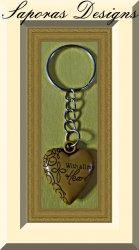 Handmade Wood Heart Keychain With All My Heart & Verse Luke 10:27