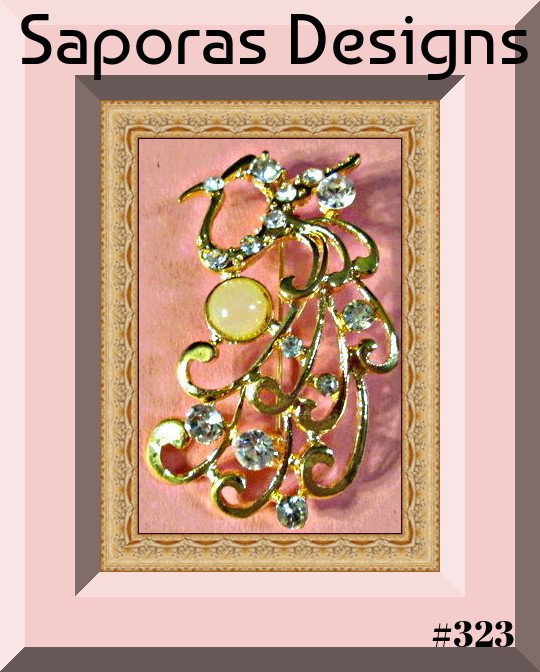 Image 0 of Gold Tone Peacock Design Brooch With Clear Crystals & White Bead