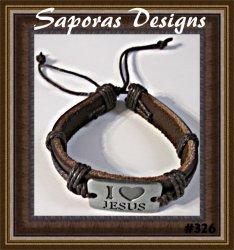 I Love Jesus Design Brown Leather Handmade Bracelet Unisex Religious