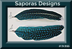 Blue & Black Handmade Dangle Feather Earrings Native Ethnic Tribal Bohemian