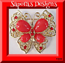 Gold Tone Butterfly Design Brooch With Red Beads & Red Crystals