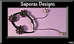Handmade Black Braided Rope Bracelet With Purple Flower Shaped Beads