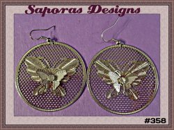 Silver Tone Dangle Round Circle Earring With Butterfly Design & Clear Crystal
