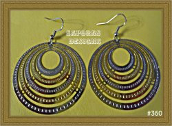 Gold & Silver Tone Round Circle Dangle Earrings