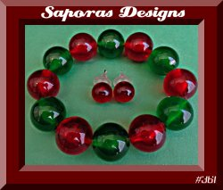 Green & Red Beaded Bracelet & Red Beaded Stud Earring Jewelry Set For Christmas