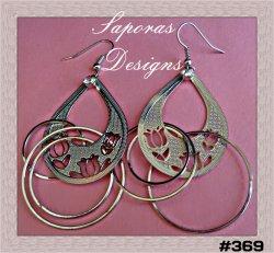 Silver Tone Dangle Chandelier Tear Drop / Flower / Circle Design Earrings