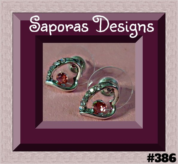 Image 0 of 18KRP Heart Design Stud Earrings With Pink & Clear Crystals