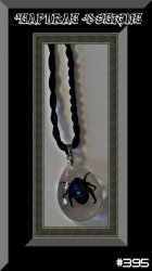 Amber Style Real Bug / Beetle Design Necklace With Black Rope Chain
