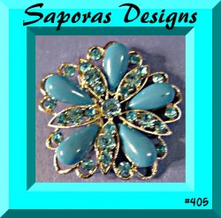 Silver Tone Flower Design Brooch With Blue Crystals & Blue Beads