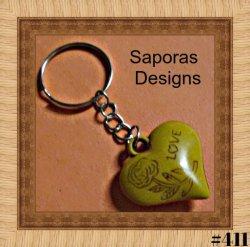 Handmade Wood Heart / Flower / Rose / Love Design Keychain